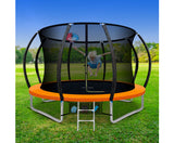 10FT Trampoline Round With Basketball Hoop Kids Present Gift Enclosure Safety Net Pad Outdoor Orange-Lilypond Kids