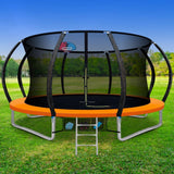 12FT Trampoline Round With Basketball Hoop Kids Present Gift Enclosure Safety Net Pad Outdoor Orange-Lilypond Kids