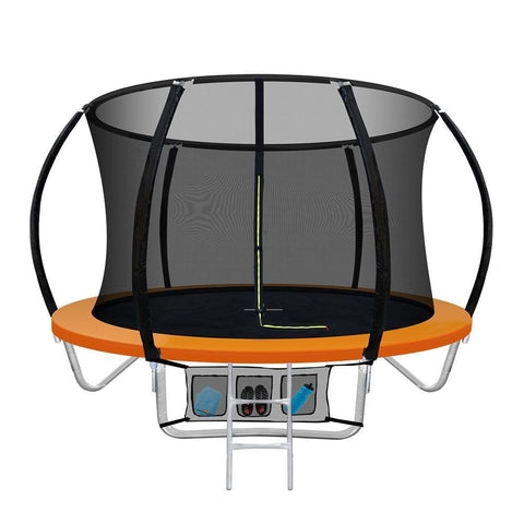8FT Trampoline Round Trampoline Kids Present Gift Enclosure Safety Net Pad Outdoor Orange-Lilypond Kids
