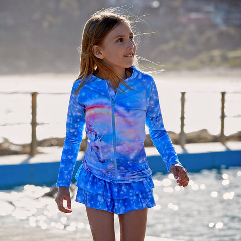 Girls Rash Top With Long Sleeves In Unicorn Design-Lilypond Kids