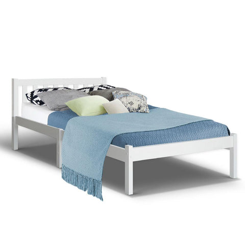 King Single Wooden Bed Frame - White-Lilypond Kids