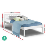 Single Size Wooden Bed Frame - White-Lilypond Kids