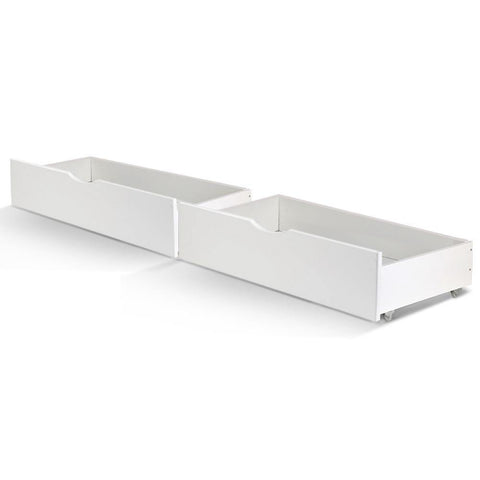 Artiss 2 x Storage Drawers Trundle for Single Wooden Bed Frame White-Lilypond Kids