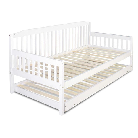 Artiss Single Wooden Trundle Bed Frame-Lilypond Kids