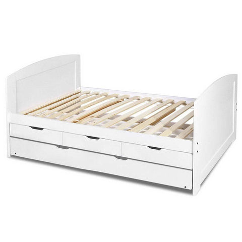 Artiss Single Wooden Trundle Bed Frame Kids/Adults-Lilypond Kids