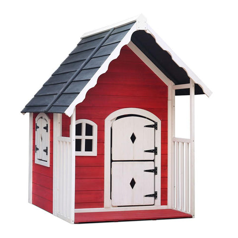 Kids Cubby House Wooden Cottage Playhouse-Lilypond Kids