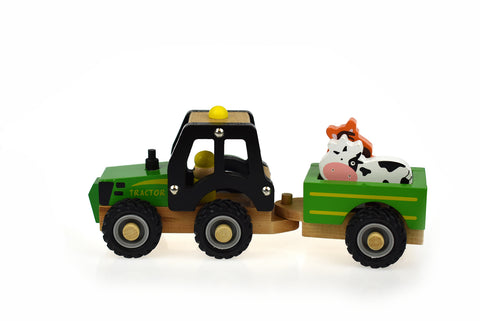 WOODEN TRACTOR WITH ANIMAL-Lilypond Kids