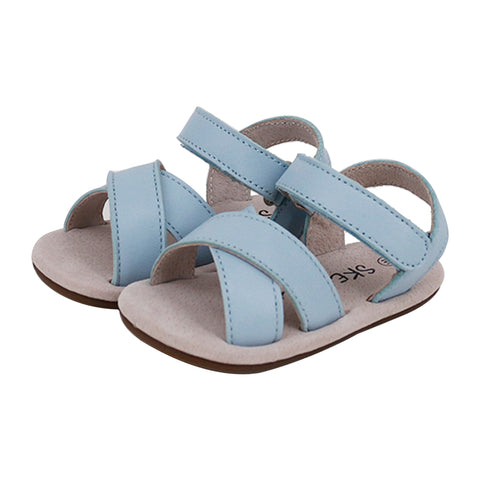 Pre-walker Cross Leather Sandals Blue-Lilypond Kids