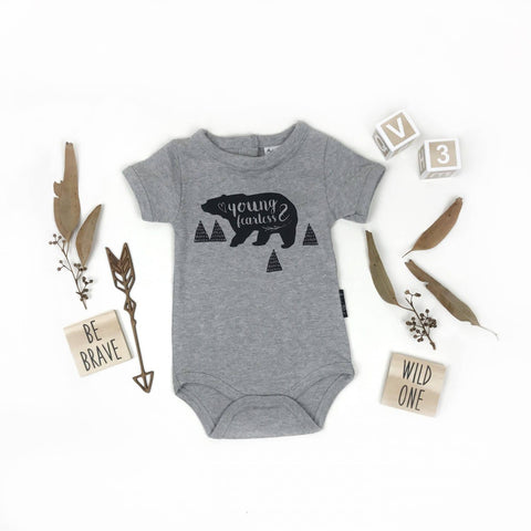 Young & Fearless Grey Marle Organic Cotton Onesie.