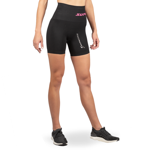 Patented Women's Coretech® Injury Recovery And Postpartum Compression Shorts (Black With Pink Logo)-Lilypond Kids