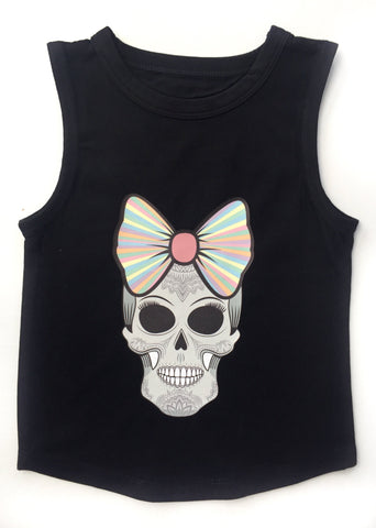 MLW By Design Tank Top - Candy Skull Print - Black Or White-Lilypond Kids