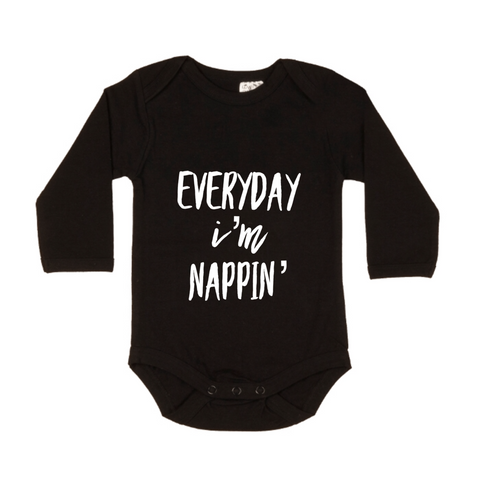 MLW By Design Short Sleeve Bodysuit - Nappin' Print - White or Black-Lilypond Kids