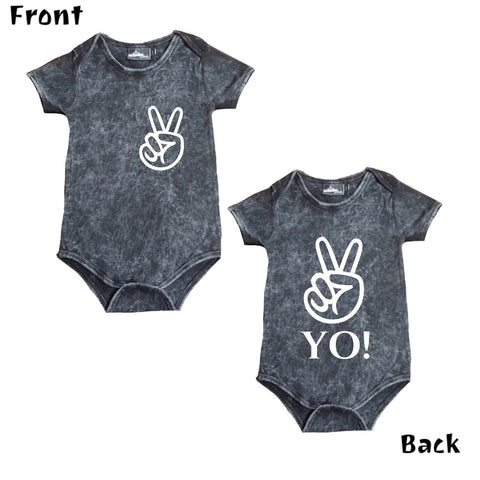 MLW By Design Short Sleeve Baby Romper - Peace Yo! Print - Stonewash-Lilypond Kids