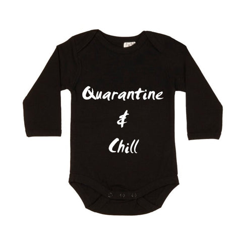 MLW By Design Long Sleeve Baby Romper - Quarantine & Chill Print - Black-Lilypond Kids