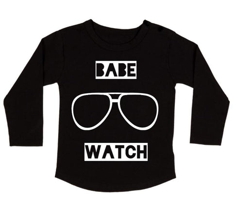 MLW By Design Long Sleeve Tee Shirt - Babe Watch Print - Black-Lilypond Kids