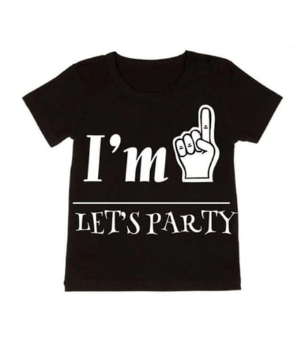 MLW By Design Tee Shirt - I'm 1 Let's Party Print - Black-Lilypond Kids