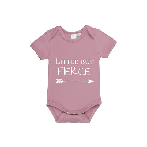 MLW By Design Short Sleeve Baby Romper - Little But Fierce Print-Lilypond Kids