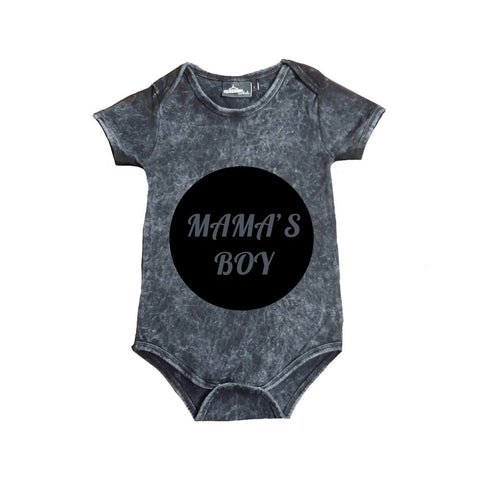 MLW By Design Short Sleeve Baby Romper - Mama's Boy Print - Stonewash-Lilypond Kids