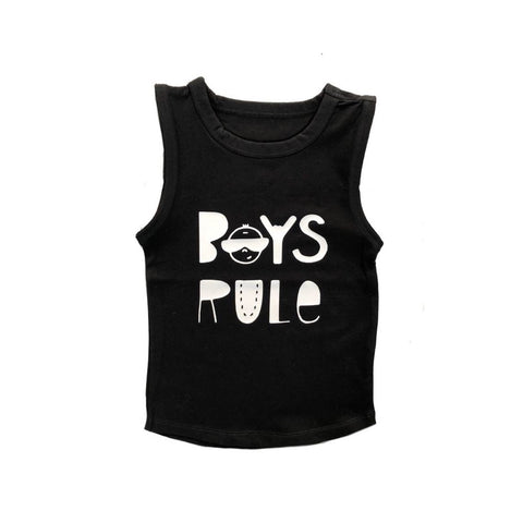 MLW By Design Tank Top - Boys Rule Print - Black-Lilypond Kids