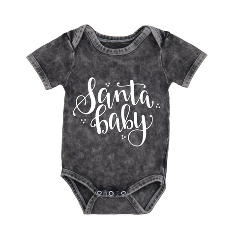 MLW By Design Short Sleeve Baby Romper - Santa Baby Print-Lilypond Kids