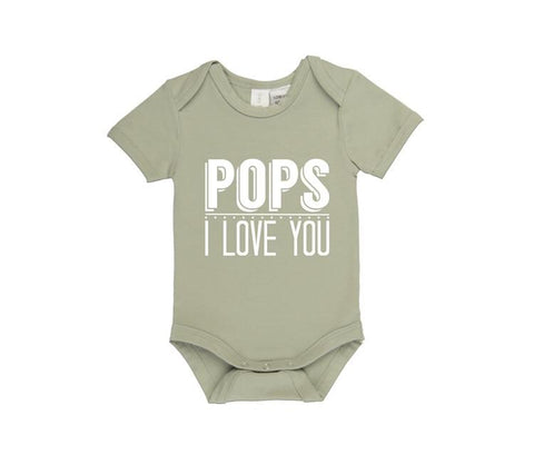 MLW By Design Short Sleeve Baby Romper - Pops I Love You Print-Lilypond Kids