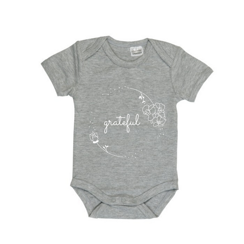 MLW By Design Short Sleeve Baby Romper - Grateful Print-Lilypond Kids