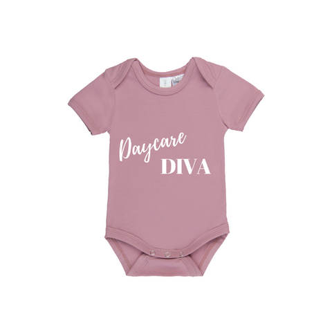 MLW By Design Short Sleeve Baby Romper - Daycare Diva Print-Lilypond Kids