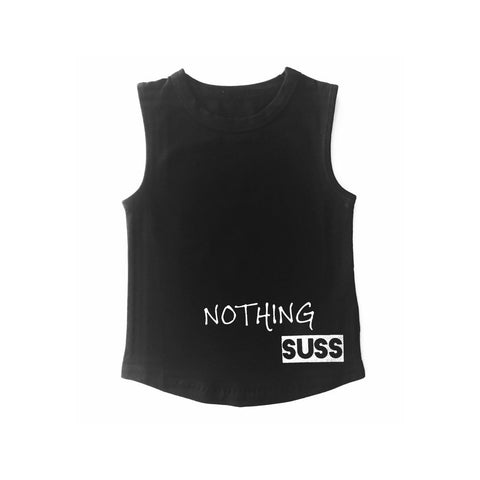 MLW By Design Tank Top - Nothing SUSS Print - Black-Lilypond Kids