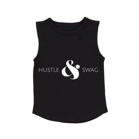 MLW By Design Tank Top - Hustle & Swag Print - Black-Lilypond Kids