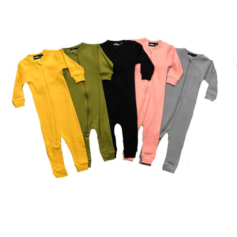MLW By Design - Ribbed Zipped Long Sleeve Onesies - 5 Colours-Lilypond Kids