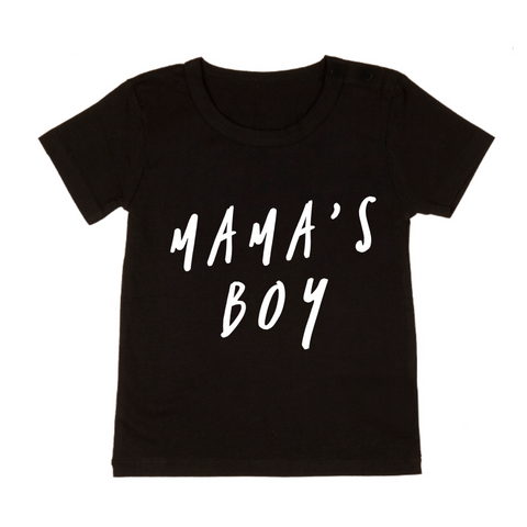 MLW By Design Tee Shirt - Mama's Boy Print - Black-Lilypond Kids