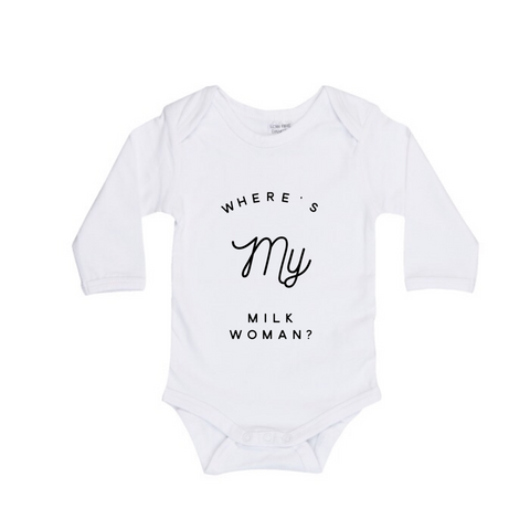 MLW By Design Long Sleeve Baby Romper - Where's My Milk Print - White or Black-Lilypond Kids