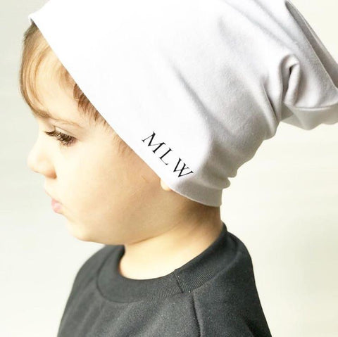 MLW By Design - Signature Slouch Beanies - White-Lilypond Kids