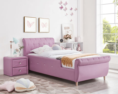 Madelyn Princess PU Leather Single Upholstered Bed - Pink-Lilypond Kids