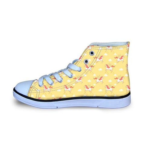Girls Unicorn Pattern High Top Canvas Sneakers-Lilypond Kids