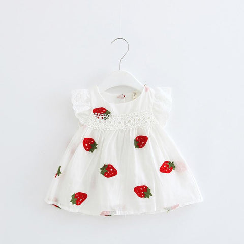 Baby Girls Sleeveless Cotton Summer Dress - Strawberry Embroidery - Lilypond Kids