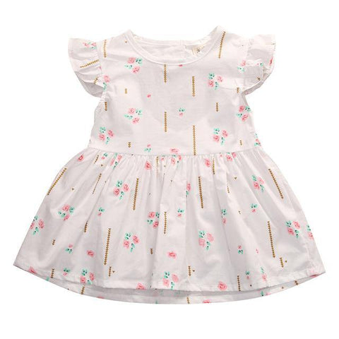 Baby Cotton Summer Dress Ruffle Sleeve - Heart Shape Back Opening-Lilypond Kids