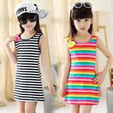 Striped Casual Cotton Girls Sleeveless Dress-Lilypond Kids