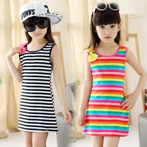 Striped Casual Cotton Girls Sleeveless Dress - Lilypond Kids