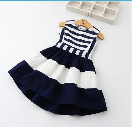 Sleeveless Girls Summer Dress Navy Horizontal Stripe-Lilypond Kids