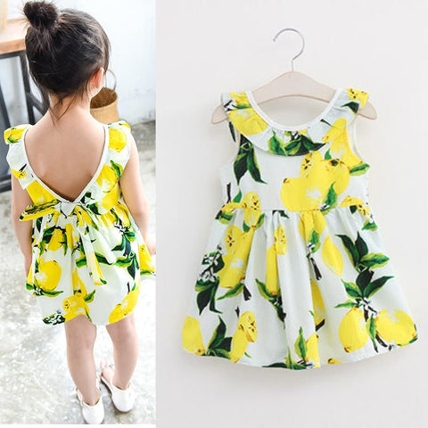Lemon Print Girls Cotton Dress - Backless Sleeveless-Lilypond Kids