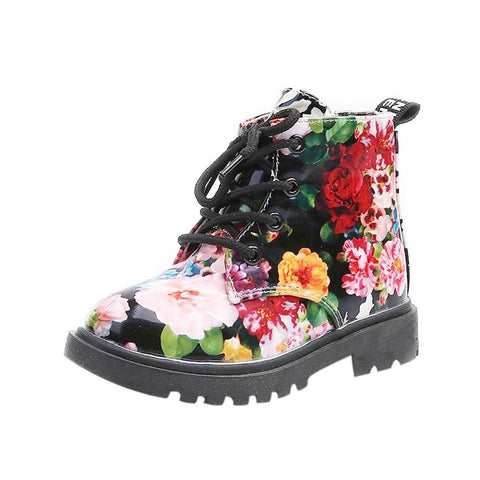 Girls Floral Printed Army Style Boot-Lilypond Kids