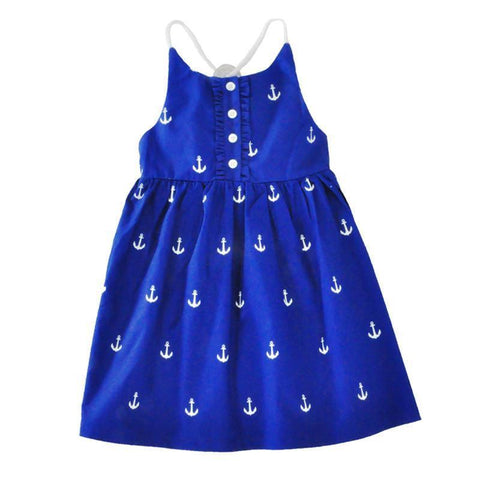Pretty Deep Blue Anchor Pattern Dress-Lilypond Kids