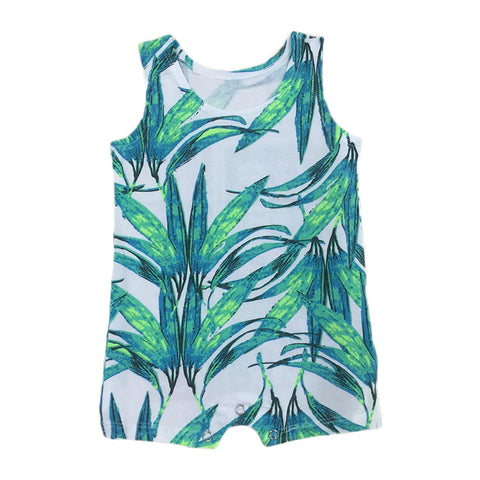 Boys Cotton Sleeveless Rompers - Botany Print-Lilypond Kids