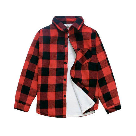 Boys Plaid Cotton Winter Shirts-Lilypond Kids