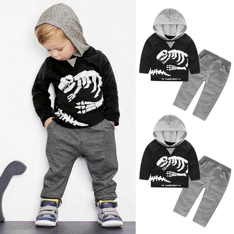 Toddler Dinosaur Bones Hooded Tops & Pants Outfit-Lilypond Kids
