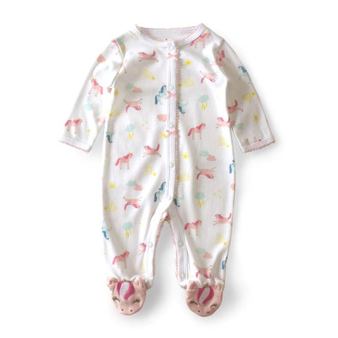 Long Sleeve Unicorn Baby Rompers With Lace Trim-Lilypond Kids