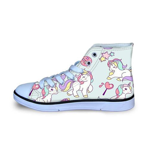 Unicorn & Horse High Top Canvas Shoes-Lilypond Kids