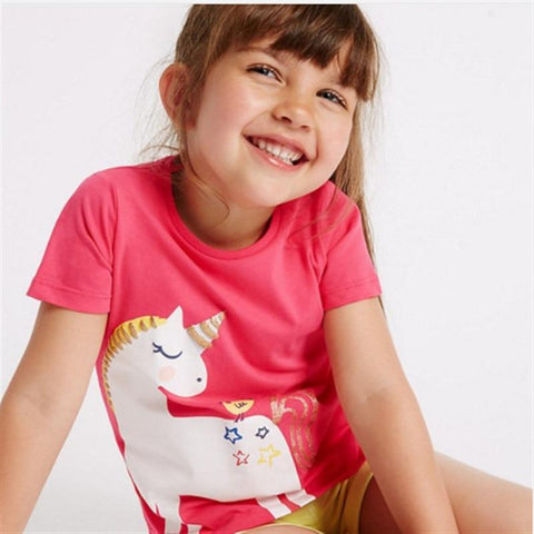 Girls Unicorn Tee Shirt-Lilypond Kids