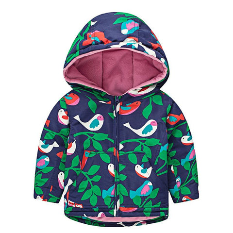 Girls Hooded Jacket - Cute Birds 3-8 Yrs-Lilypond Kids